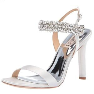 Badgley Mischka Lilly Heeled Sandal, White Satin